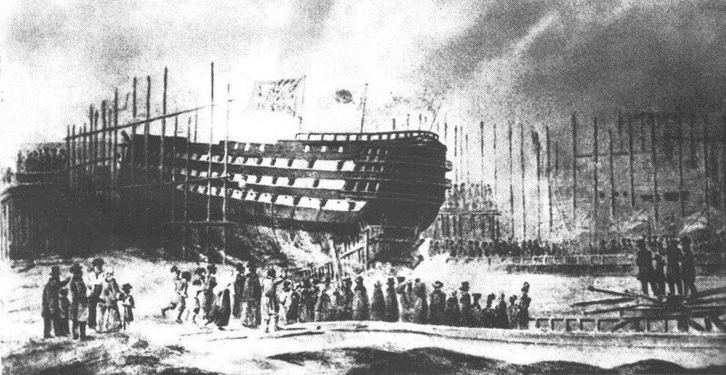 Спуск корабля «Цесаревич»