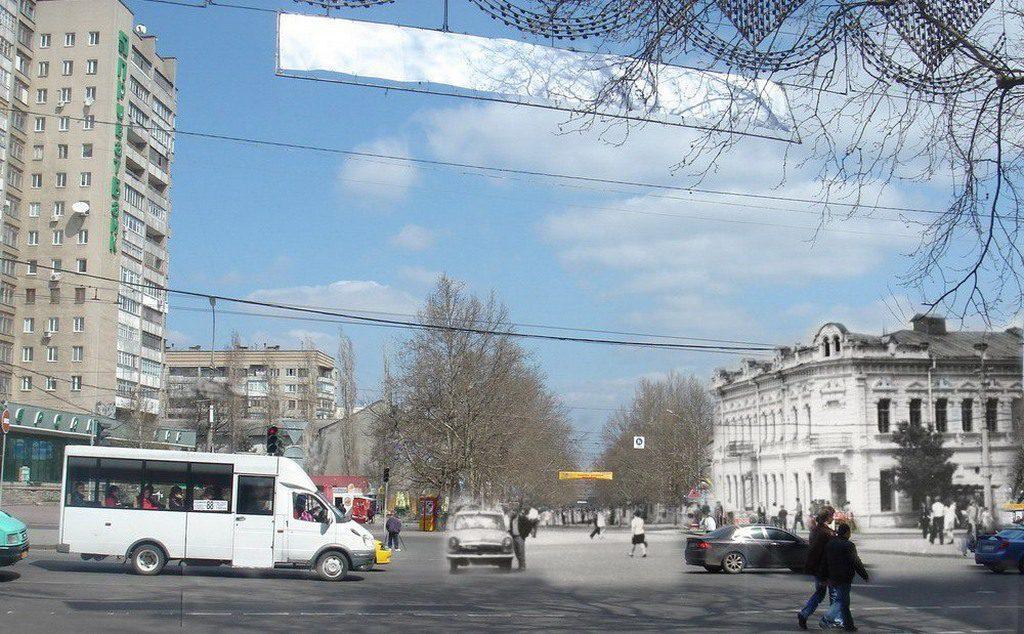 Угол проспекта и Советской (тогда и сейчас)